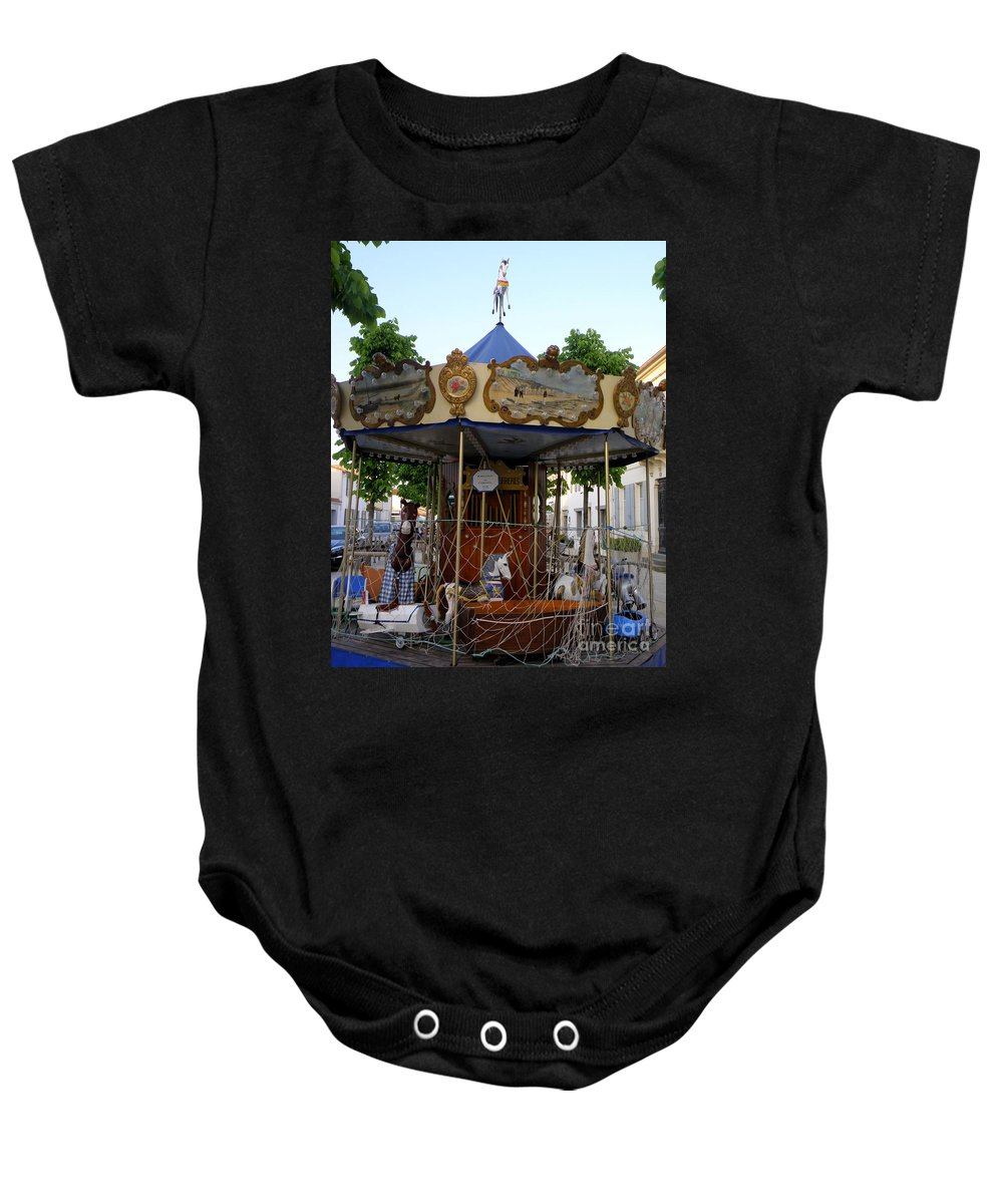 Merry-go-round Baby Onesie featuring the photograph Carousel by Lainie Wrightson