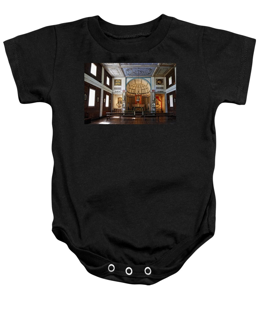 Cataldo Baby Onesie featuring the photograph Cataldo Mission Altar And Interior by Daniel Hagerman