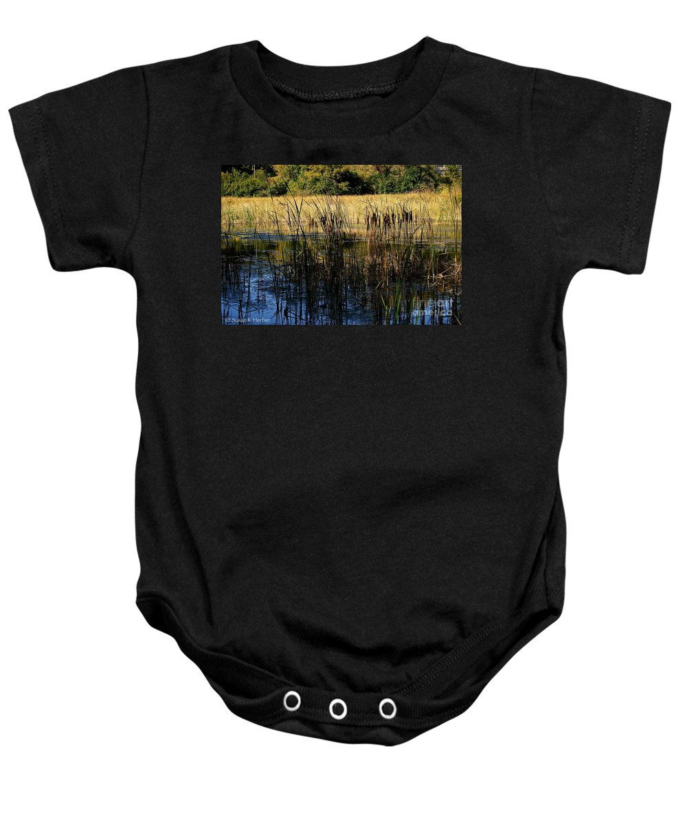 Outdoors Baby Onesie featuring the photograph Cattail Duck Cover by Susan Herber