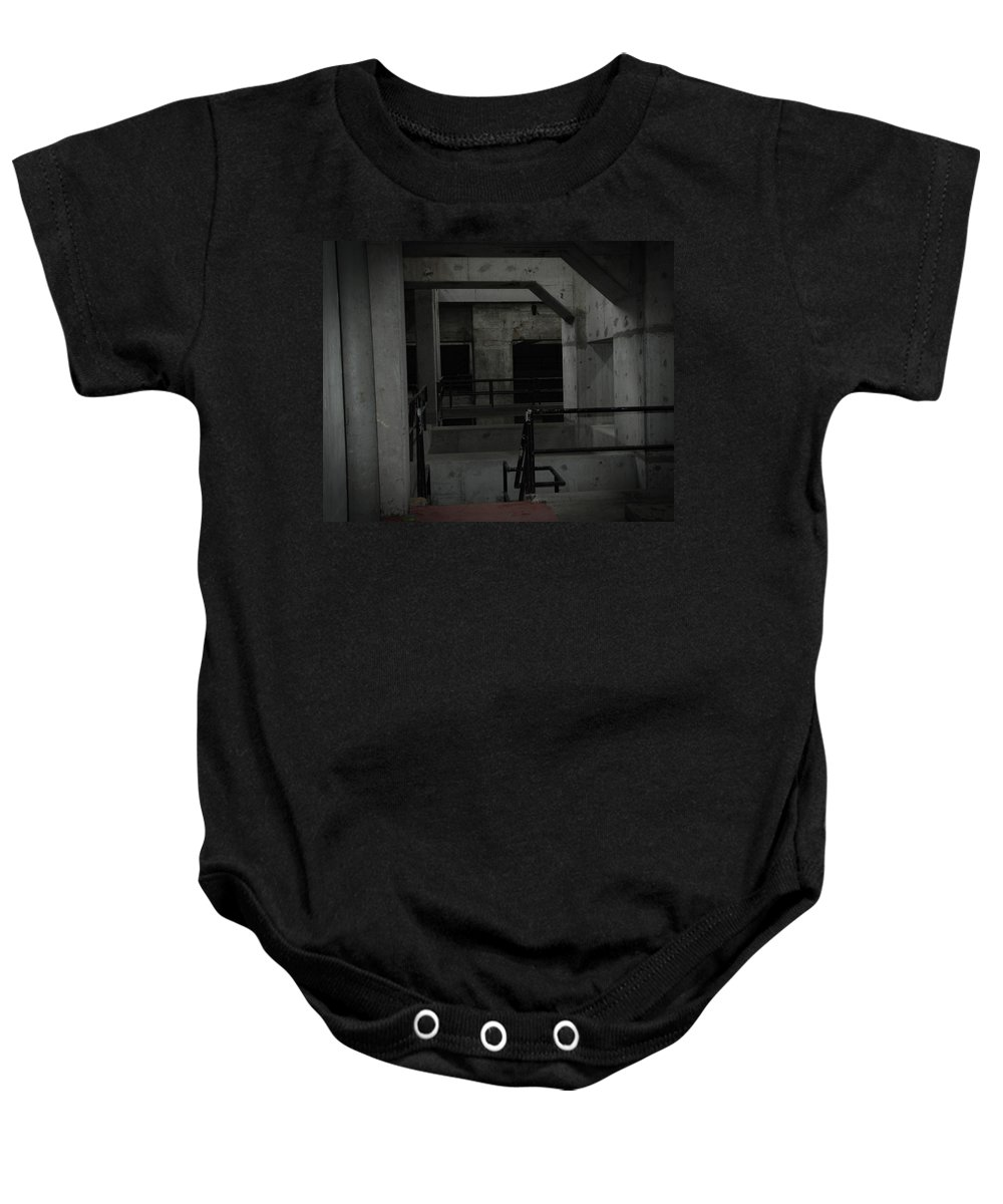 Urban Exploration Baby Onesie featuring the photograph Cement Deco by April Davis