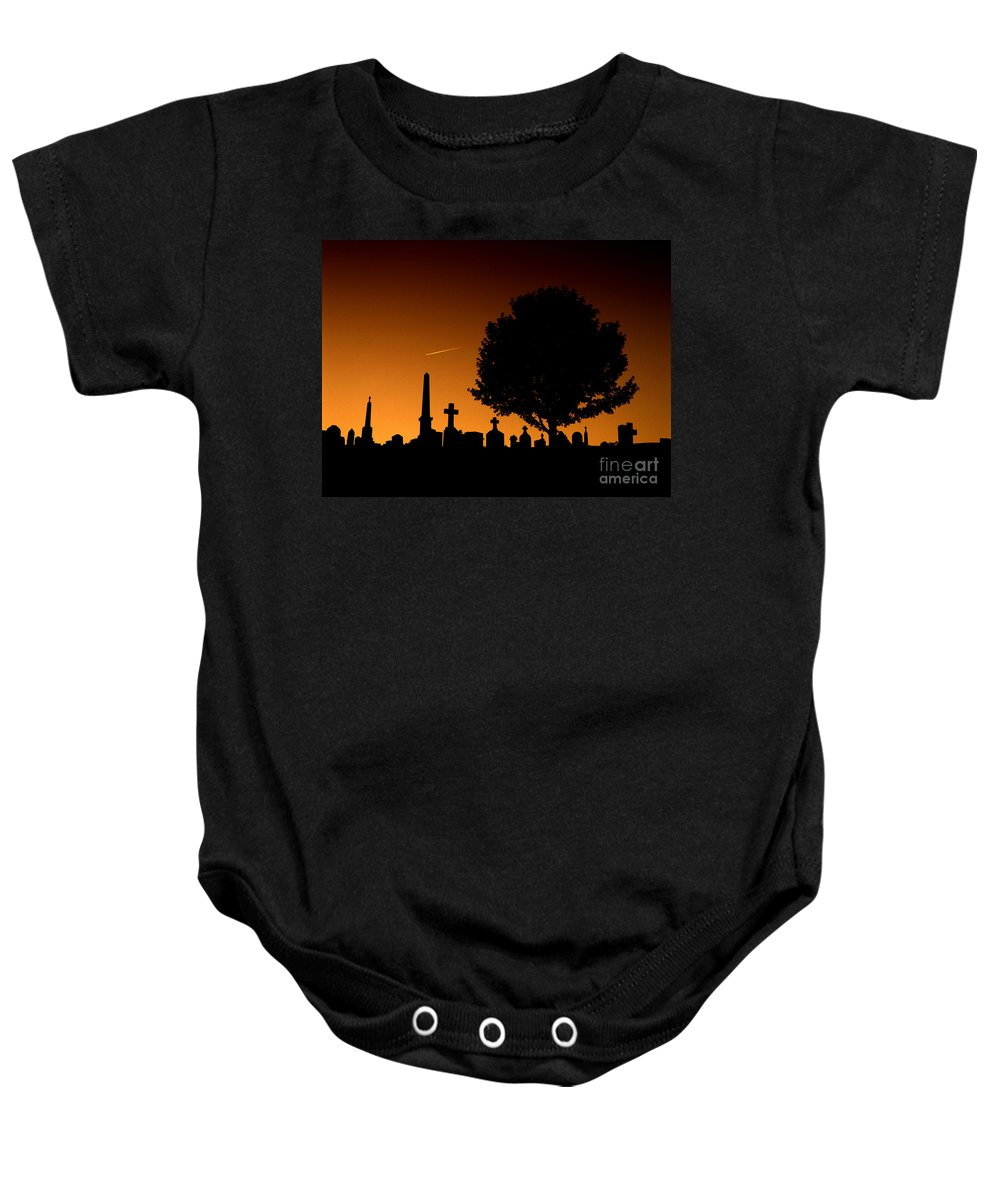 Cemetery Baby Onesie featuring the photograph Cemetery And Tree by Mike Nellums