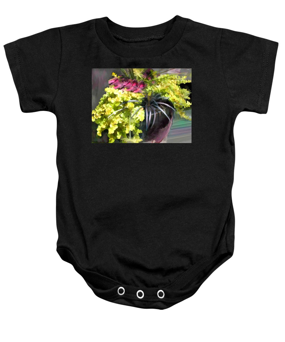 Flower Flowers Chartreuse Planter Coleus Dracena Garden Flora Floral Nature Natural Bloom Blooms Blossoms Blossom Bouquet Arrangement Lime+green Baby Onesie featuring the painting Chartreuse And Purple Plants by Elaine Plesser