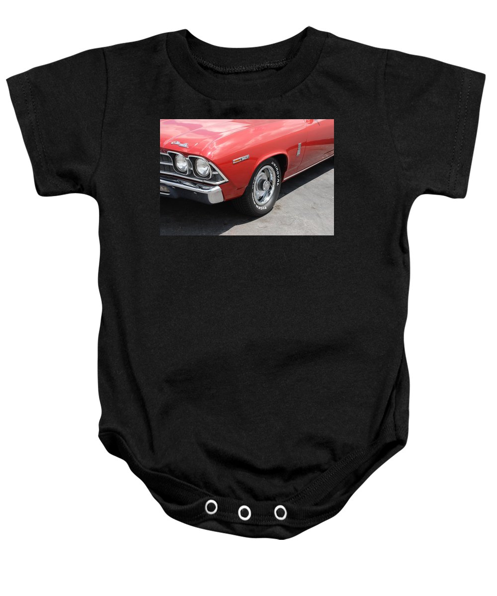 Chevy Baby Onesie featuring the photograph Cherry Chevelle by Rob Hans