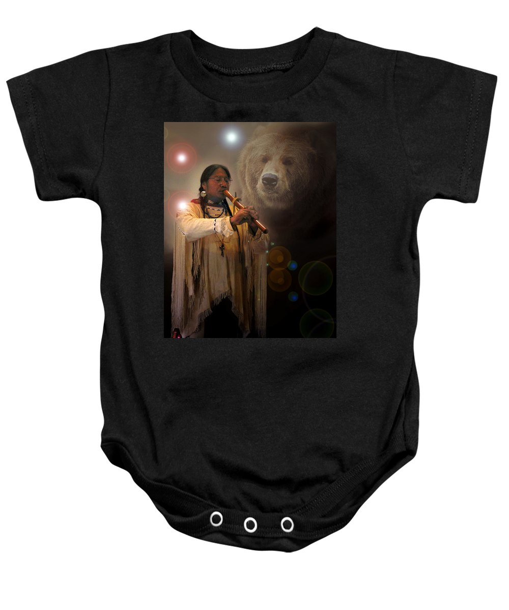 Native American Music Baby Onesie featuring the photograph Cheyenne Flute Musician by Nancy Griswold