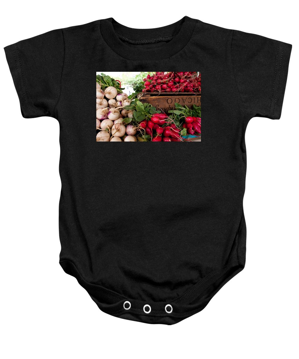 Radish Baby Onesie featuring the photograph Chicago Market by Lauri Novak