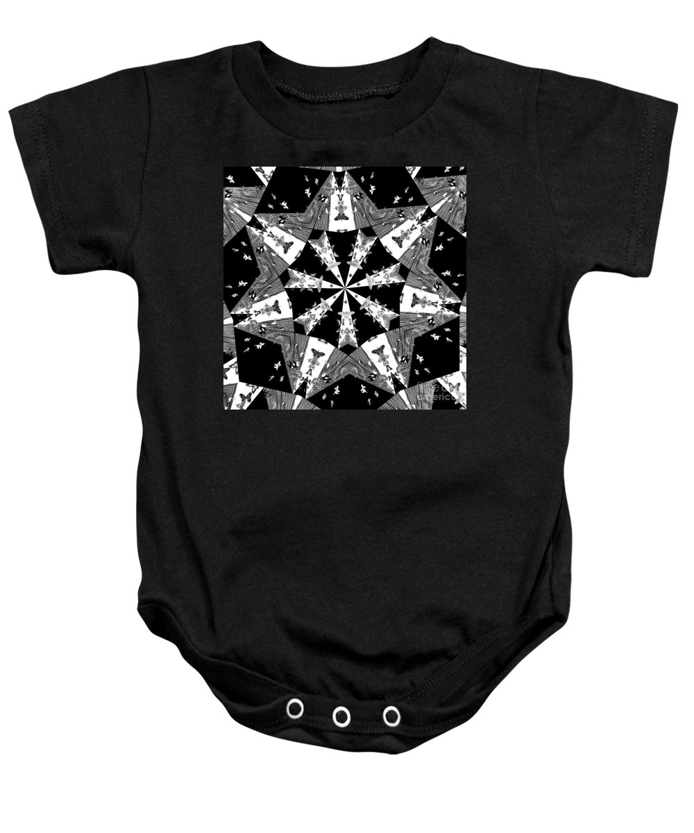 Butterflies Baby Onesie featuring the photograph Children Animals Kaleidoscope Black And White by Donna Brown