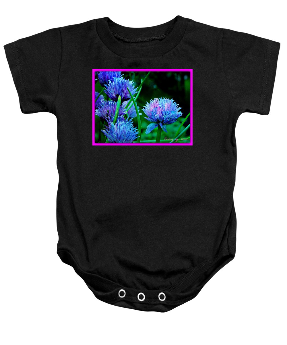 Blue Flower Baby Onesie featuring the photograph Chives For You by Deahn   Benware