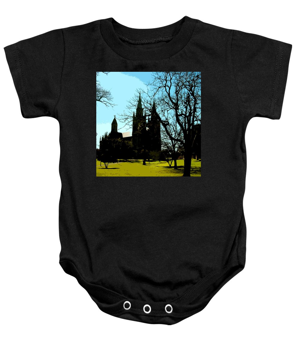 Church Baby Onesie featuring the digital art Christian Church Silhouette by Phill Petrovic