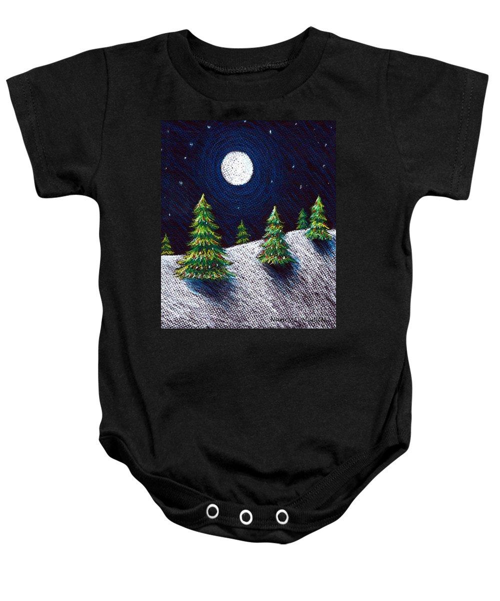 Pastels Baby Onesie featuring the drawing Christmas Trees II by Nancy Mueller