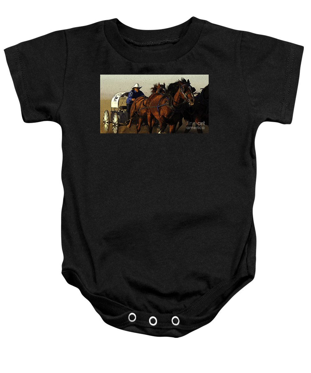 Horses Baby Onesie featuring the photograph Rodeo Chuckwagon Racer by Bob Christopher
