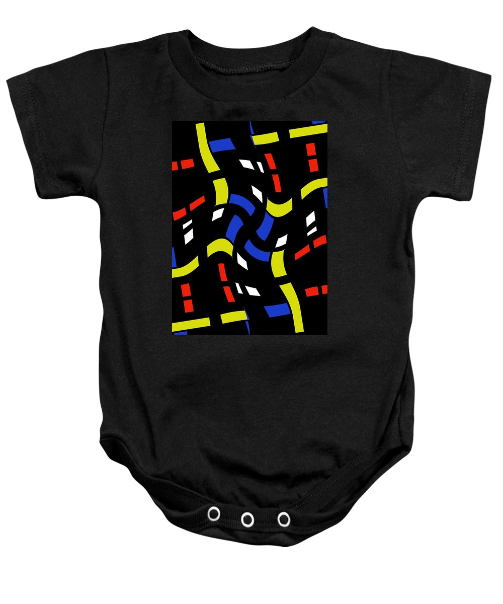 City Light Lights Window Window Abstract Forms Dynamic Motion Night Expressionism Impressionism Modern Art Digital Baby Onesie featuring the digital art City Lights Abstract by Steve K