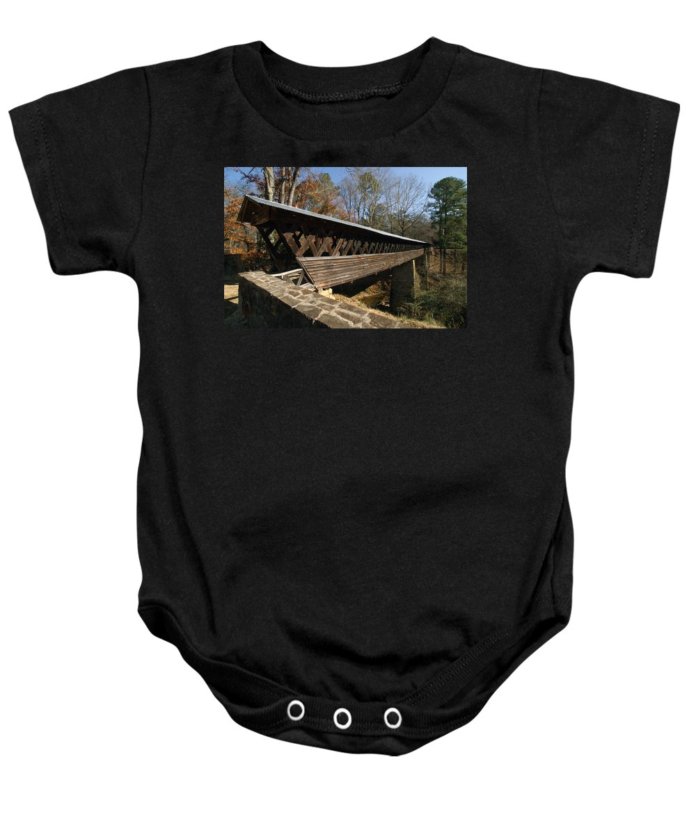 History Baby Onesie featuring the photograph Clarkson Covered Bridge by Tim Litwiller