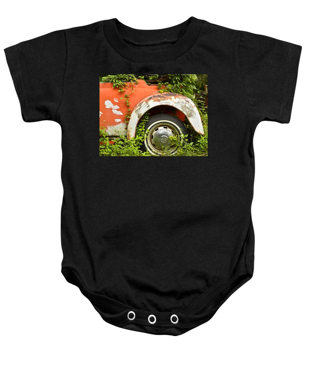 Volkswagen Baby Onesie featuring the photograph Classic Car Forgotten by Carolyn Marshall
