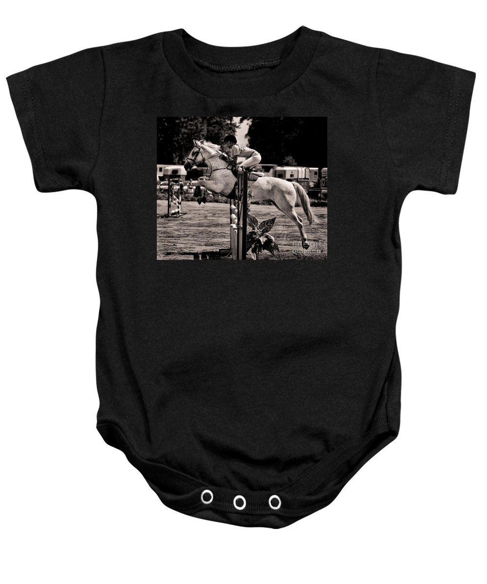 Horse Baby Onesie featuring the photograph Clearing The Hurdle by Ari Salmela