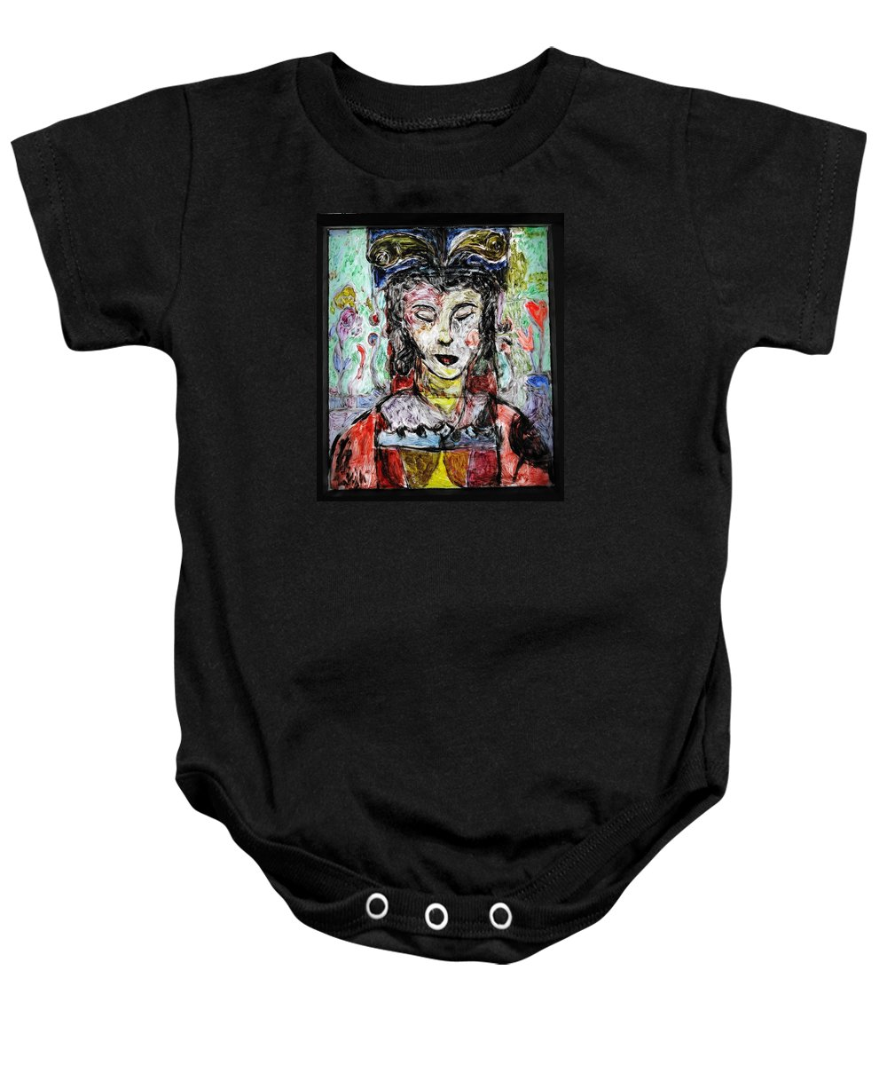 Cleopatra Baby Onesie featuring the painting Cleopatra In Spring by Mykul Anjelo