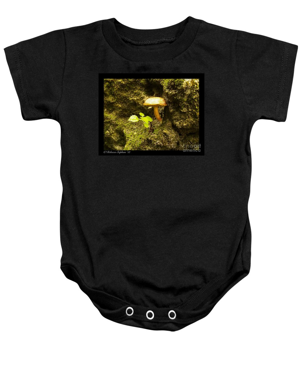 Mushroom Baby Onesie featuring the photograph Cliff Hanger by Rebecca Stephens