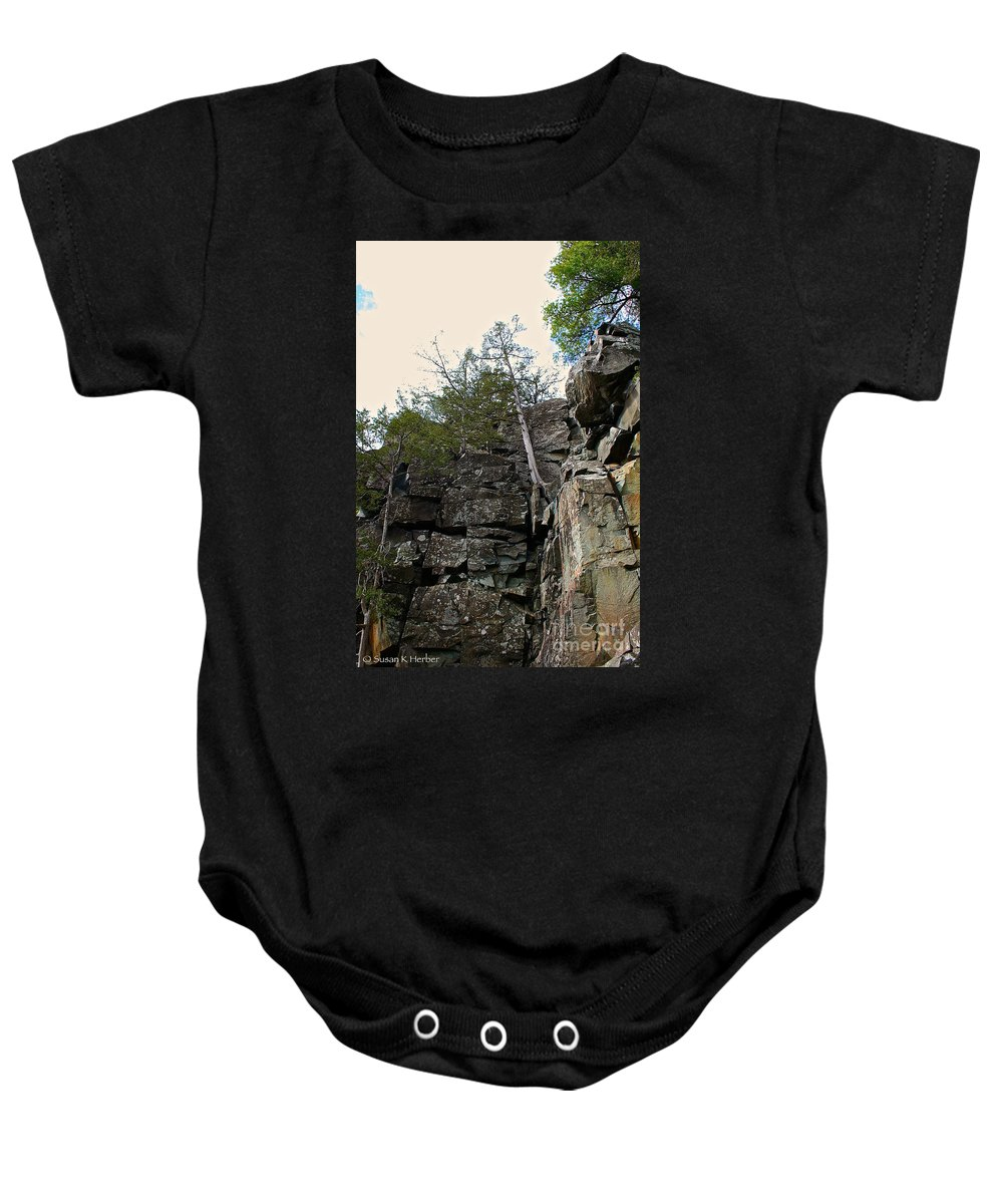 Landscape Baby Onesie featuring the photograph Cliff by Susan Herber
