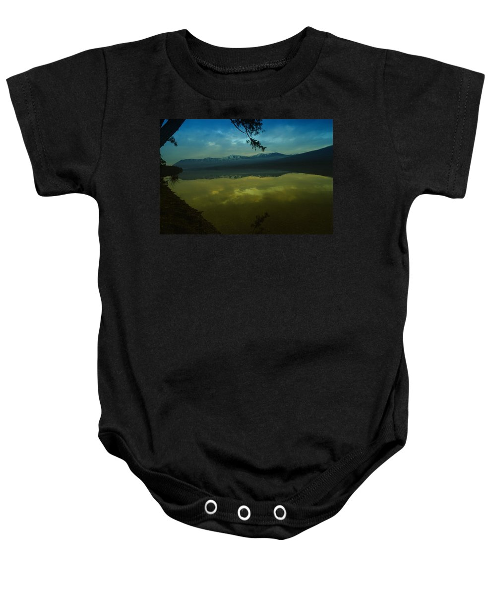 Water Baby Onesie featuring the photograph Clouds Trying To Dance In Still Water by Jeff Swan