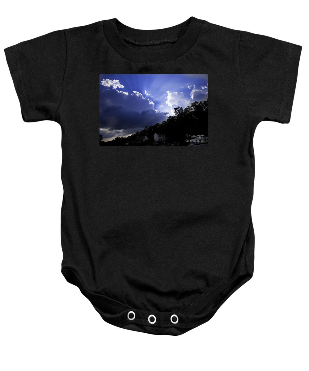 Sky Baby Onesie featuring the photograph Cloudy With A Chance Of Sunshine by Madeline Ellis