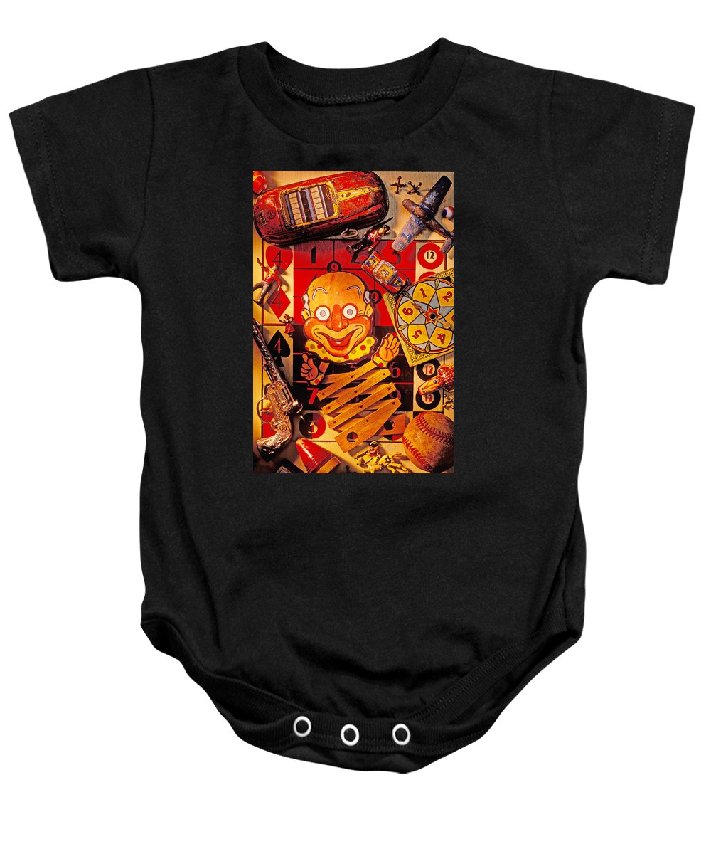 Clown Baby Onesie featuring the photograph Clown Toy And Old Playthings by Garry Gay