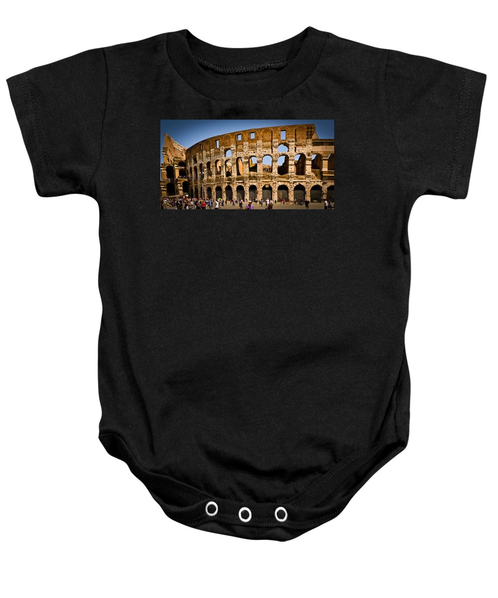 Rome Baby Onesie featuring the photograph Coliseum Facade by Jon Berghoff