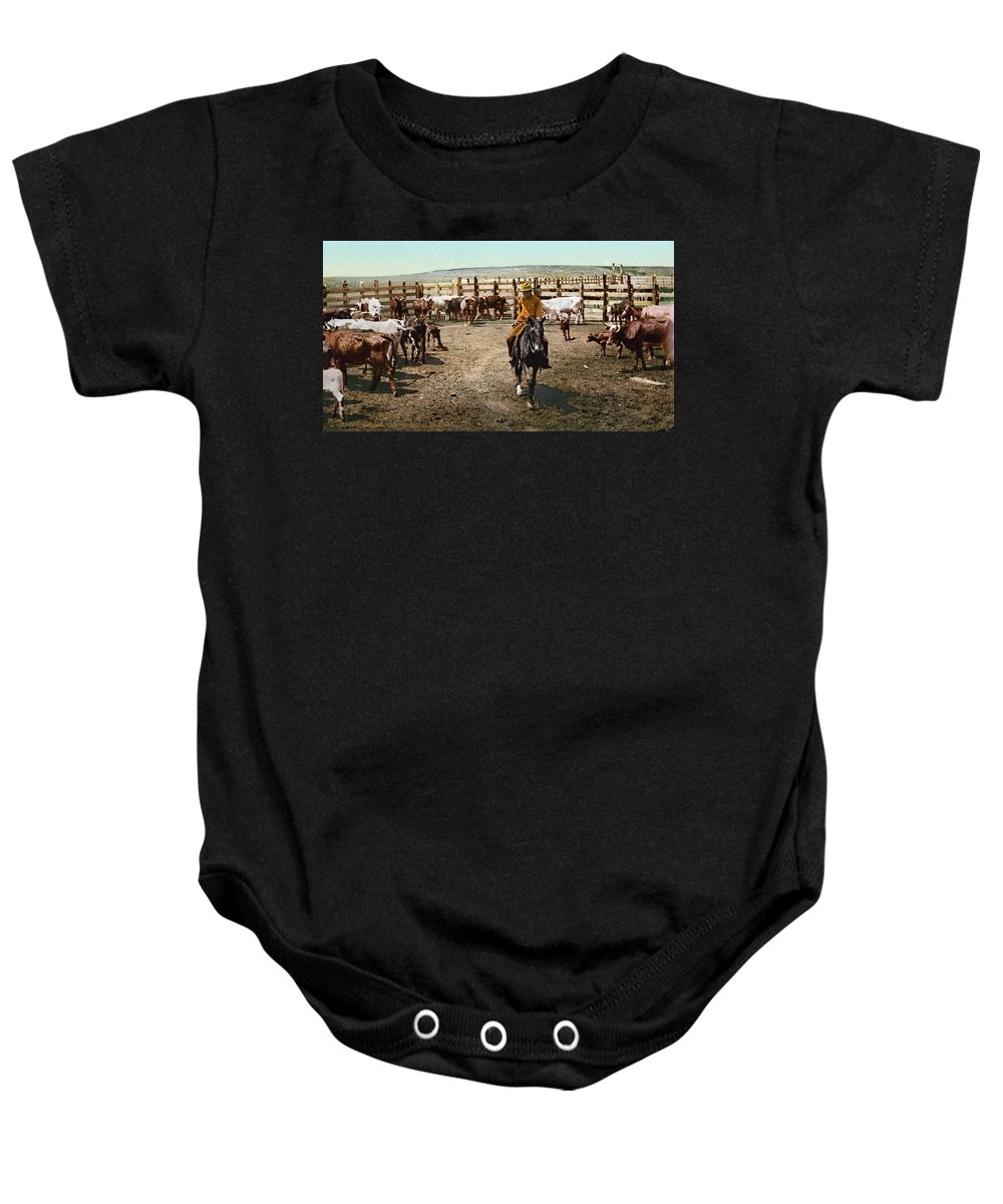 1890s Baby Onesie featuring the photograph Colorado: Round Up by Granger