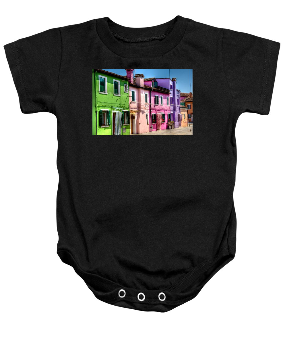 Burano Baby Onesie featuring the photograph Colorful Burano Italy by Jon Berghoff