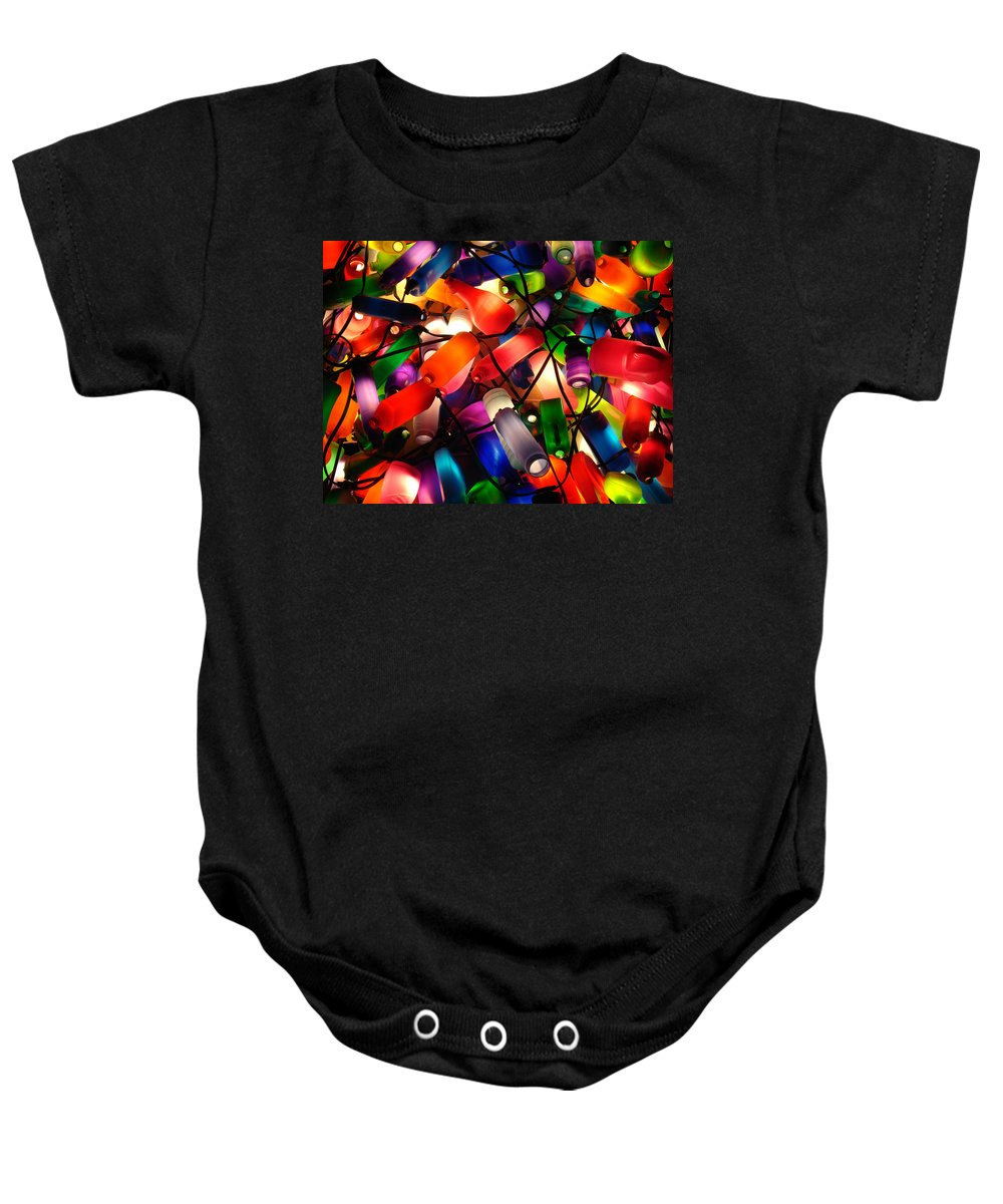 Colorful Lit Baby Onesie featuring the photograph Colorful Lit Water Bottles by Sumit Mehndiratta