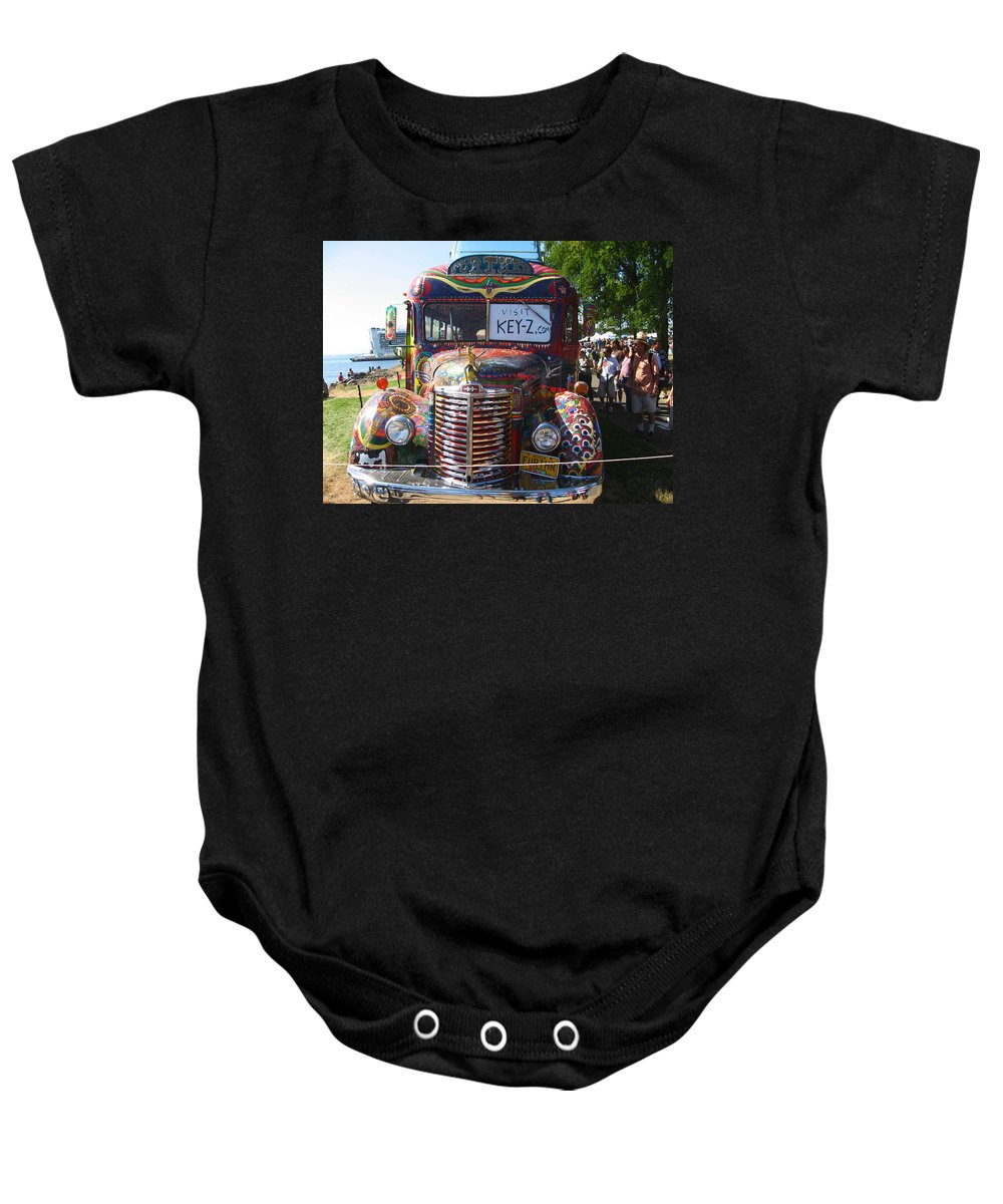 Colorful Baby Onesie featuring the photograph Colorful Painted Hippie Bus by Kym Backland