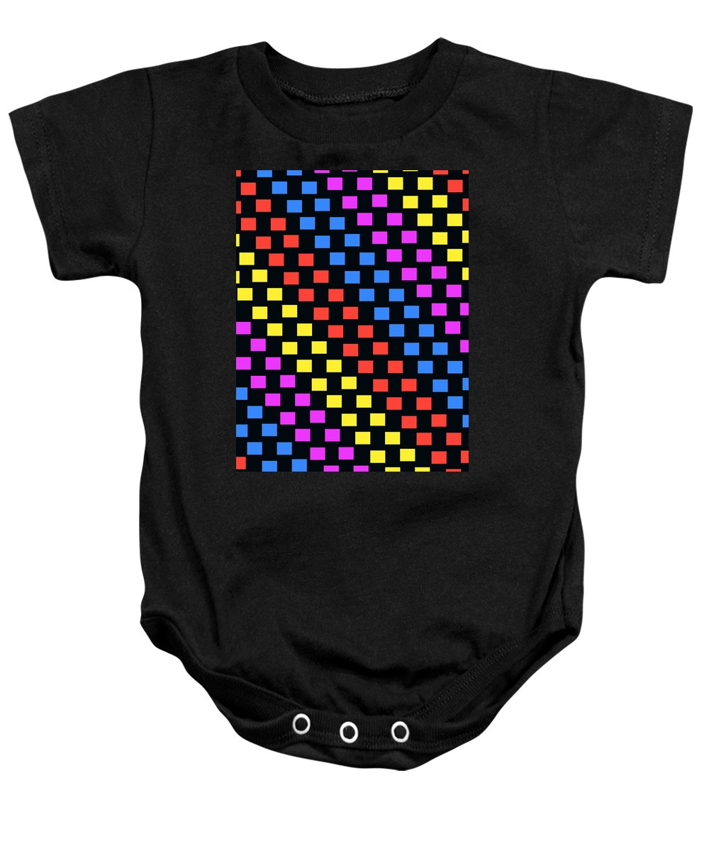 Louisa Baby Onesie featuring the digital art Colorful Squares by Louisa Knight