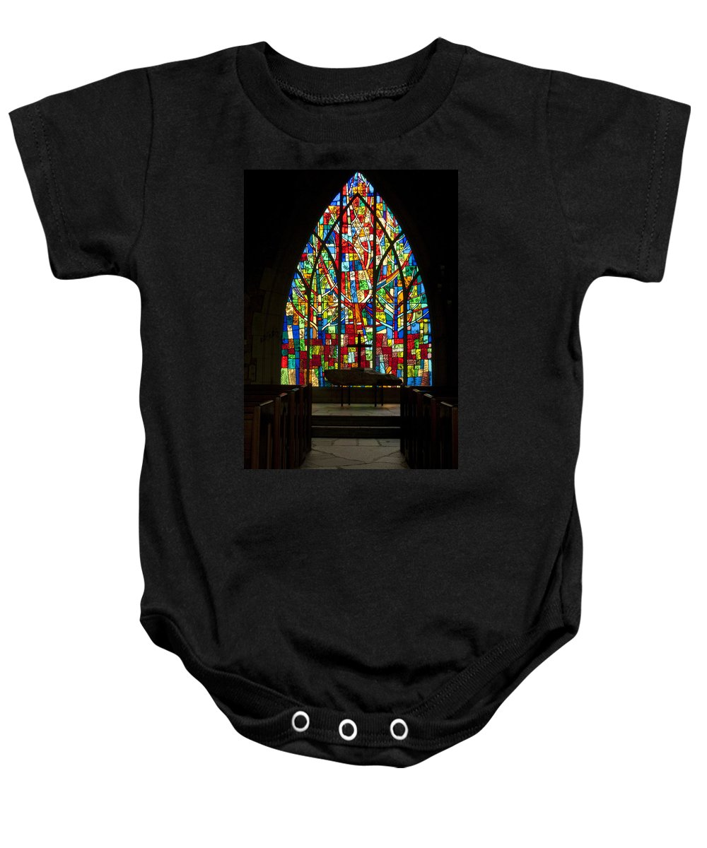 Stained Baby Onesie featuring the photograph Colorful Stained Glass Chapel Window by Kathy Clark
