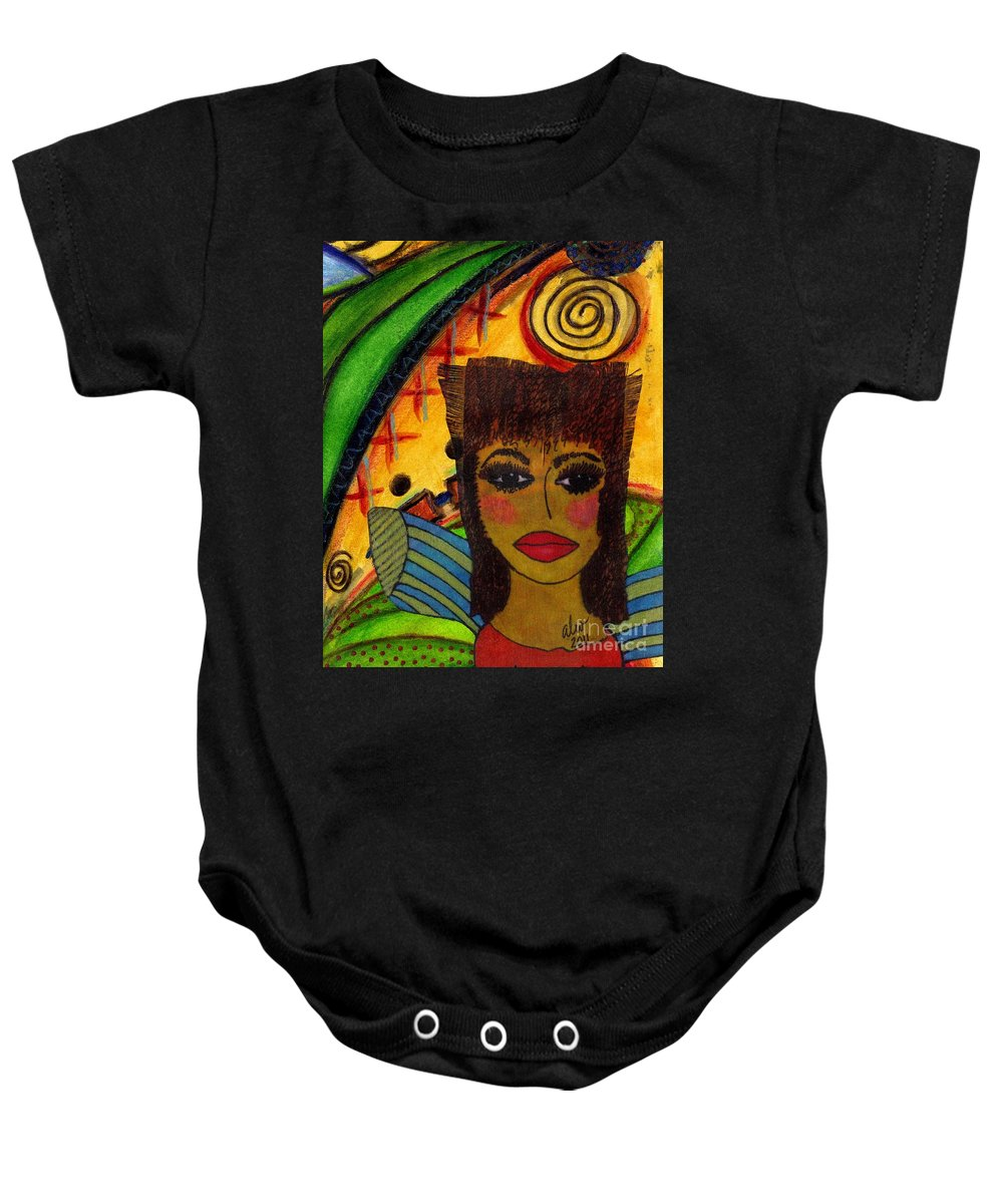 Women Baby Onesie featuring the mixed media Come Dream With Me by Angela L Walker
