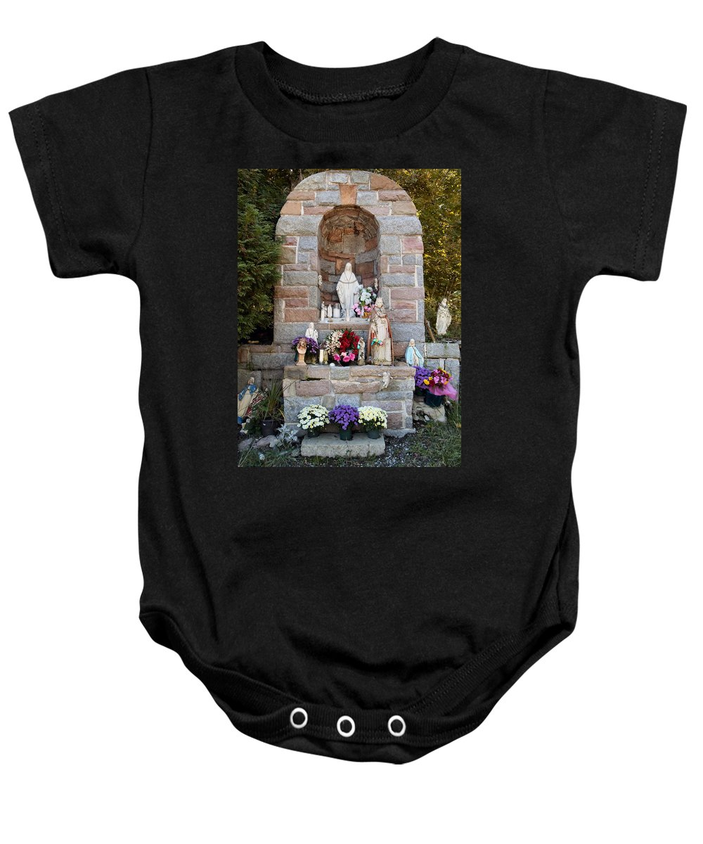 Shrine Baby Onesie featuring the photograph Comparison Mother Mary Shrine by Art Dingo