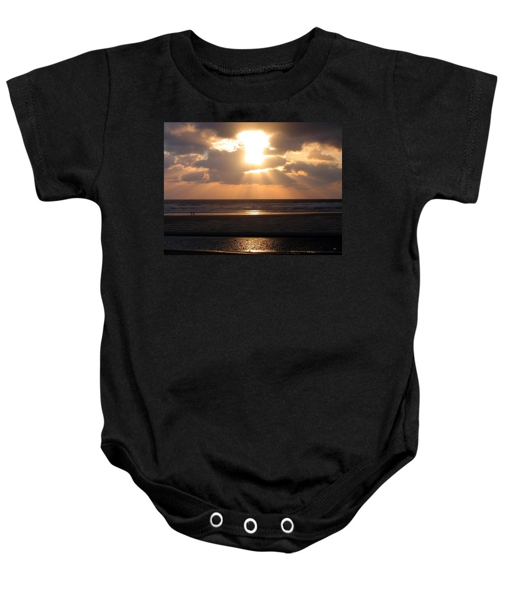 Sunset Baby Onesie featuring the photograph Copper Sunset Stroll by Will Borden