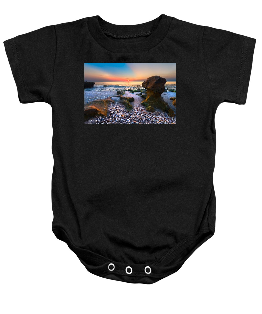 Blowing Rocks Baby Onesie featuring the photograph Coral Dawn by Debra and Dave Vanderlaan
