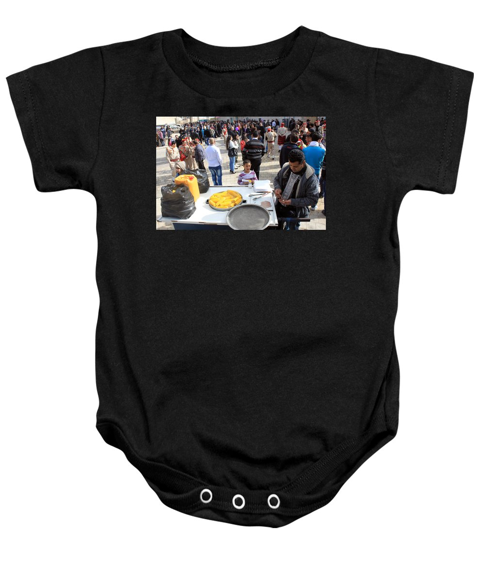 Corn Baby Onesie featuring the photograph Corn Of The Cob Salesman by Munir Alawi