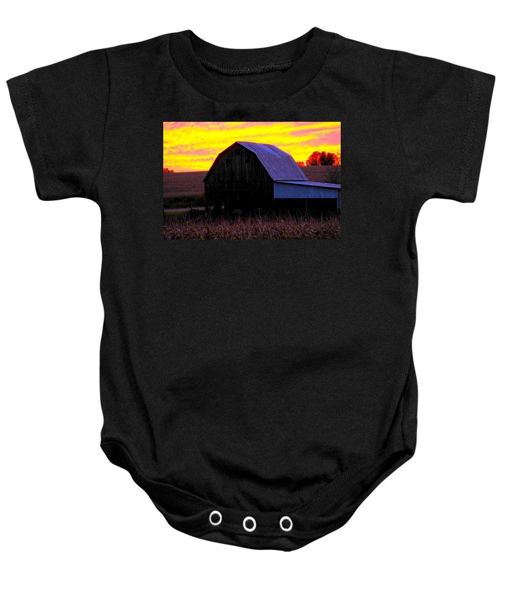 Red Sky Barn Baby Onesie featuring the photograph Cornfield Barn Sky by Randall Branham
