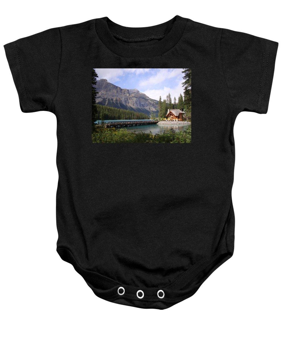 Cabin Baby Onesie featuring the photograph Crossing Emerald Lake Bridge - Yoho Nat. Park, Canada by Ian Mcadie