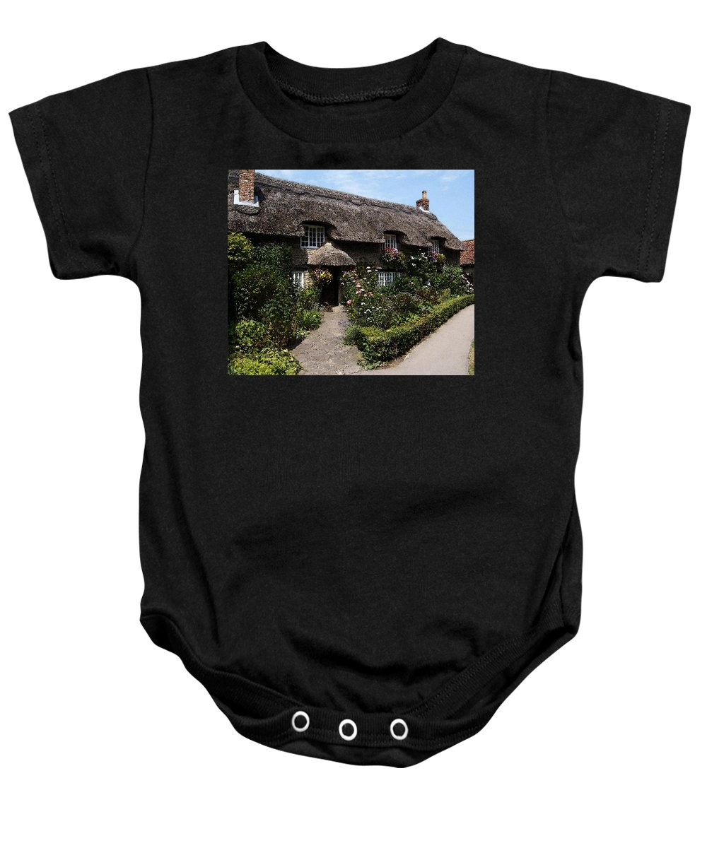 Cottage Baby Onesie featuring the photograph Cottage With Flowers by Cliff Norton
