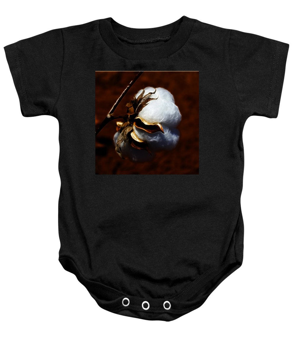Cotton Baby Onesie featuring the photograph Cotton's Inner Light by Kathy Clark