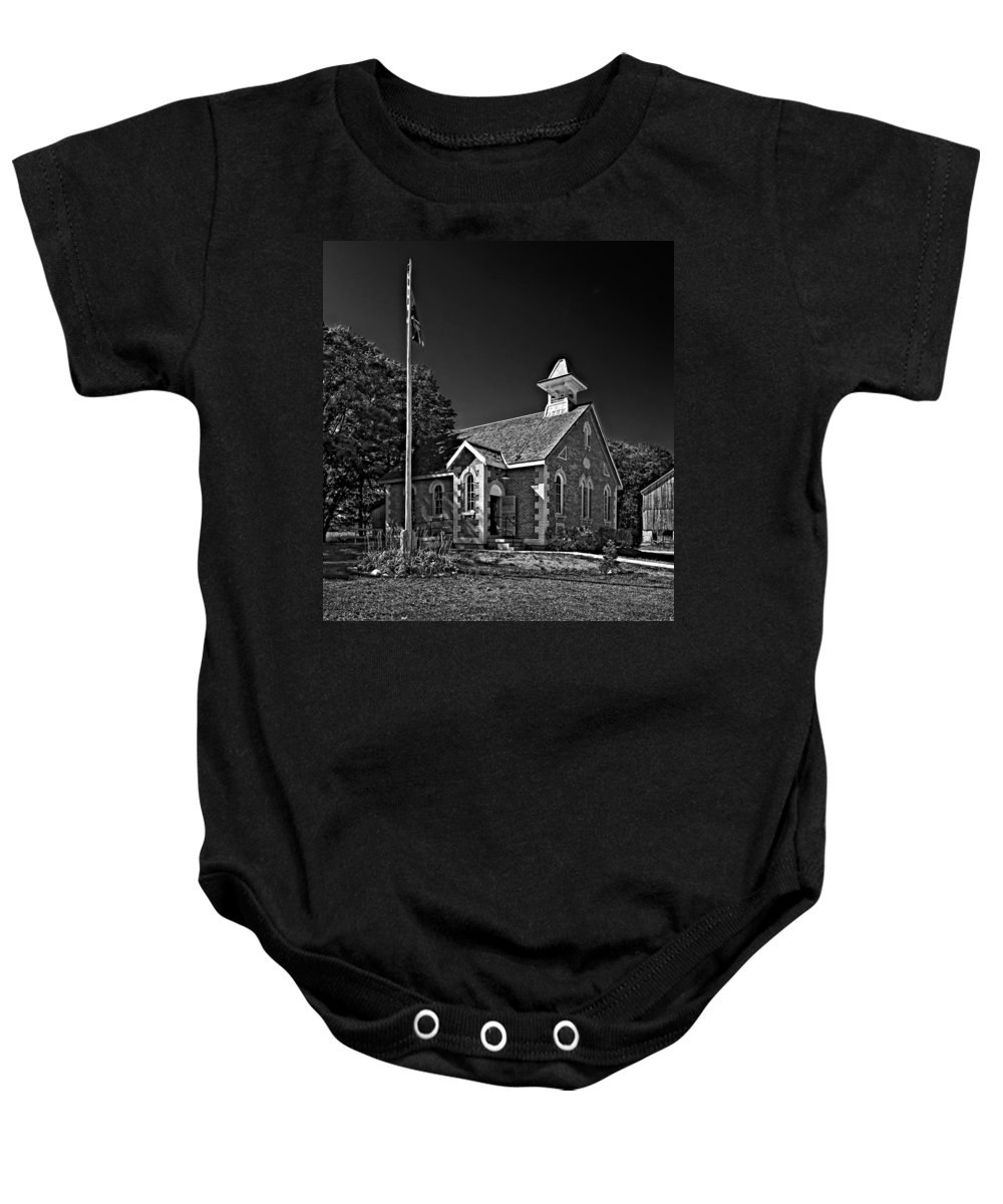 Grey Roots Museum & Archives Baby Onesie featuring the photograph Country Church Monochrome by Steve Harrington