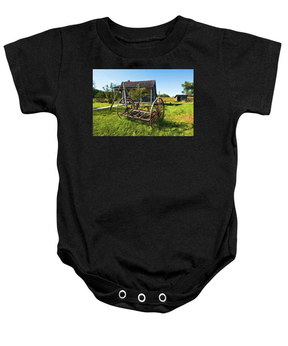 Grey Roots Museum & Archives Baby Onesie featuring the photograph Country Classic Oil by Steve Harrington