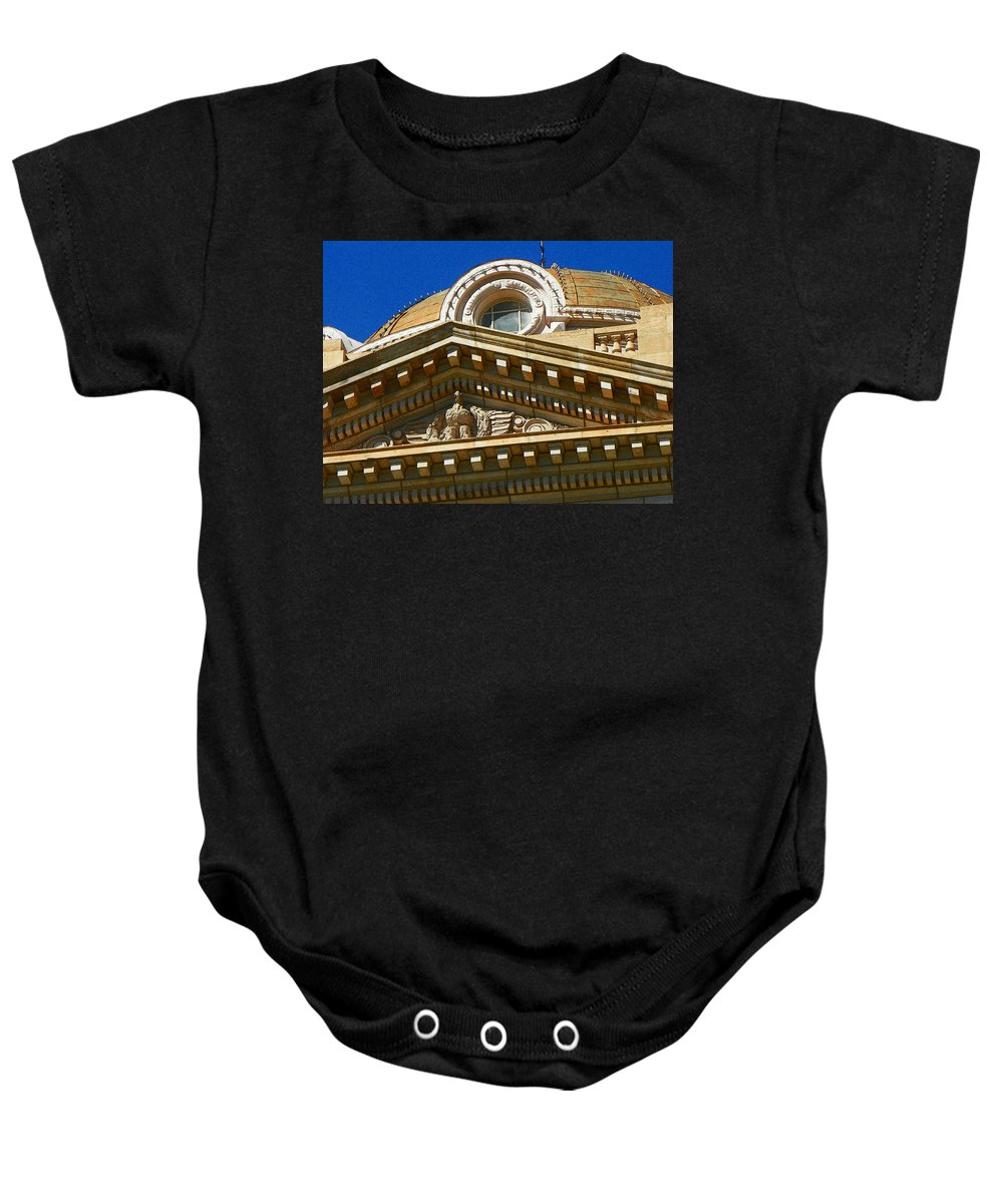 Abstract Baby Onesie featuring the photograph Courthouse by Lenore Senior