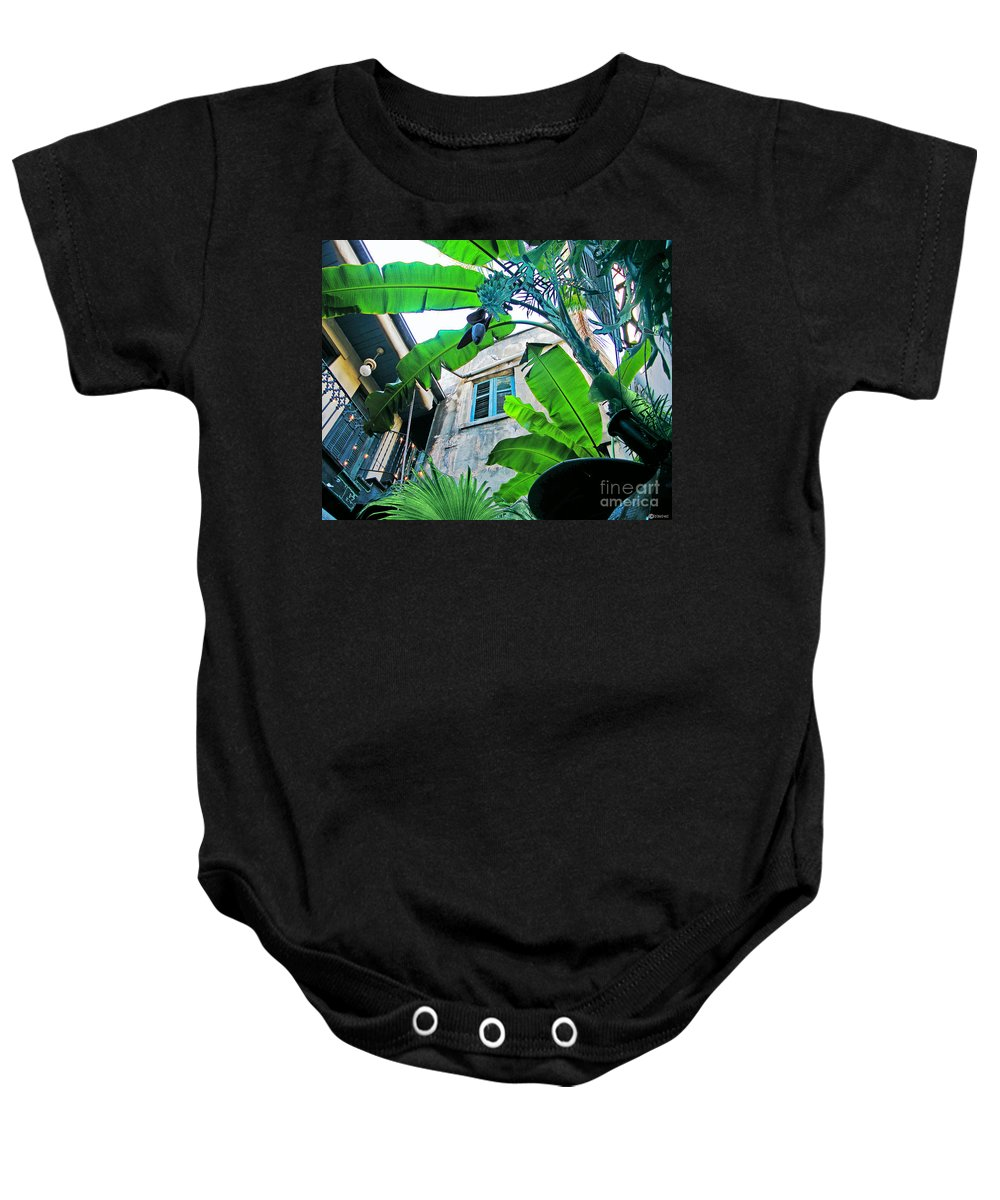 Restaurant. New Orleans Baby Onesie featuring the photograph Courtyard Feelings Cafe Nola by Lizi Beard-Ward