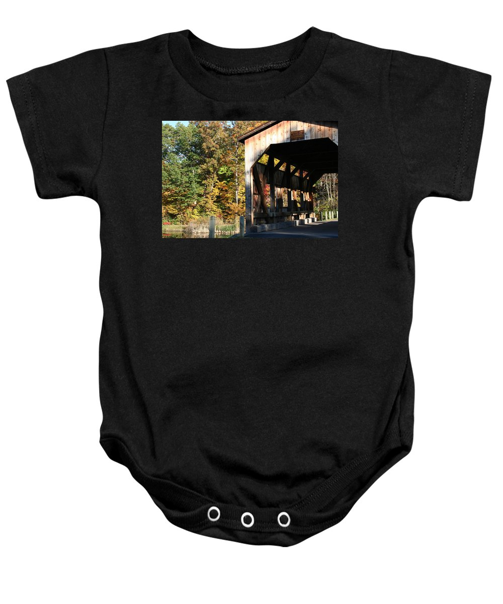 New York Baby Onesie featuring the photograph Covered Bridge by Carol Ann Thomas