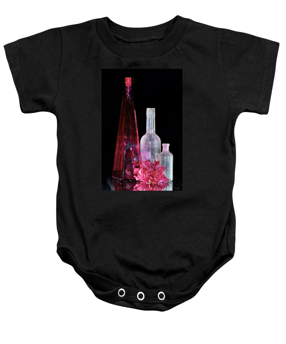 Bottles Baby Onesie featuring the photograph Cranberry And White Bottles by Phyllis Denton