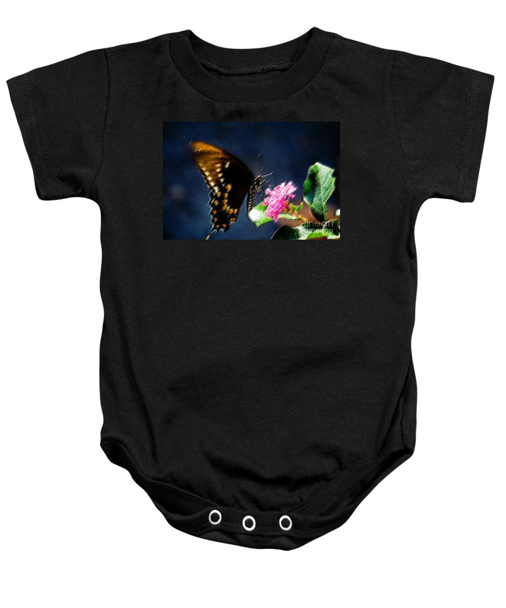 Butterfly Baby Onesie featuring the photograph Crepe Myrtle Visitor by Beth Phifer