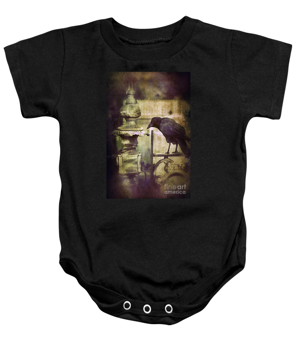 Iron Baby Onesie featuring the photograph Crow On Iron Gate by Jill Battaglia