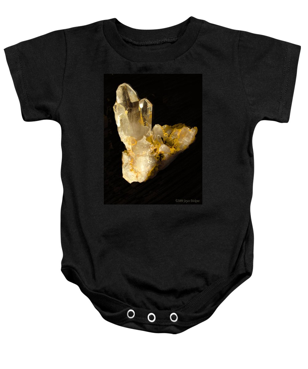 Crystal Baby Onesie featuring the photograph Crystal On Black by Joyce Dickens