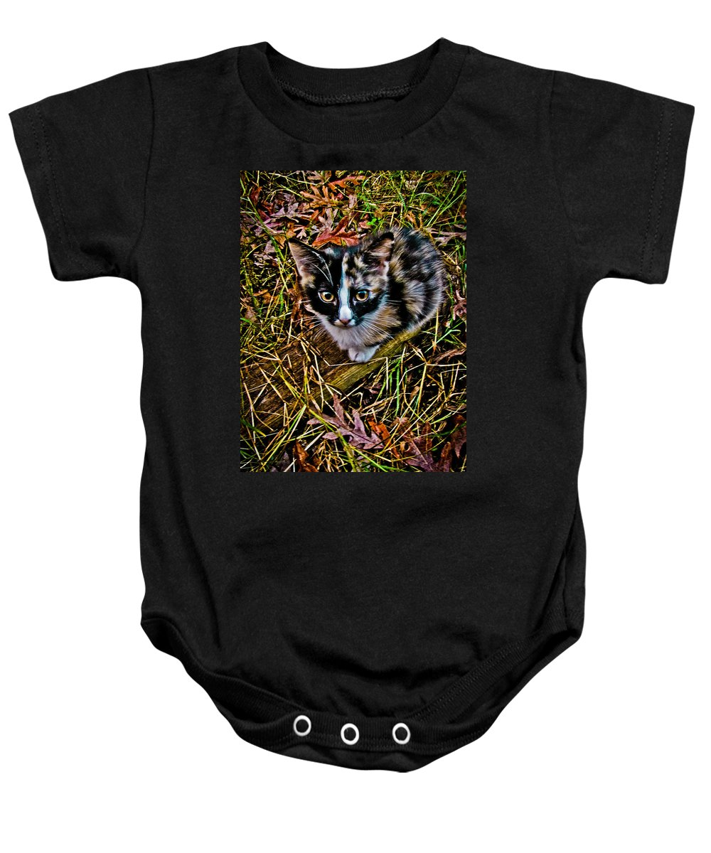 Curious Baby Onesie featuring the photograph Curious by Jessica Brawley